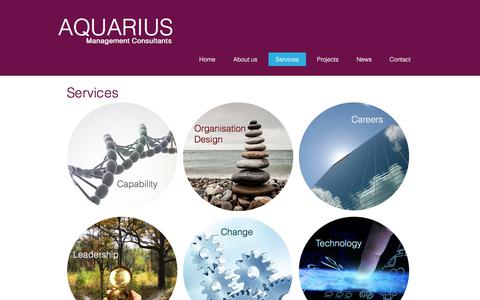 Screenshot of Services Page aquariusconsultants.com - Services from Aquarius management consultants - captured Oct. 8, 2017