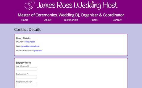 Screenshot of Contact Page jamesrossdj.com - Contact Details For James Ross Wedding Host - captured Sept. 20, 2018