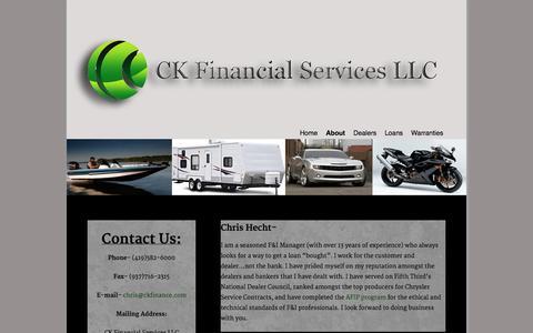 Screenshot of About Page ckfinance.com - ckfinance.com boat and RV loans, Dealer Service Provider CK Financial Services - captured Oct. 1, 2014