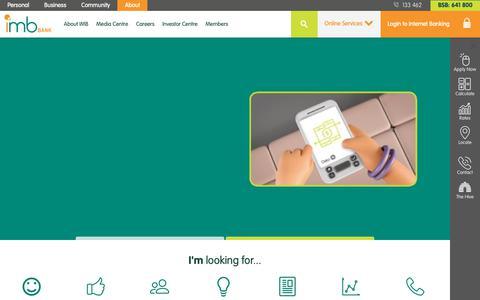Screenshot of About Page imb.com.au - About - IMB Bank - captured Oct. 1, 2018