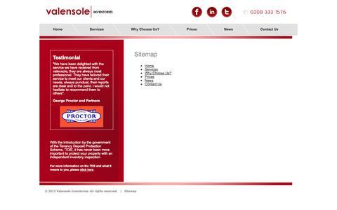 Screenshot of Site Map Page valensoleinventories.com - Valensole Inventories   Inventory Reports for Rental Properties - captured Oct. 27, 2014