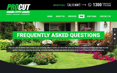Screenshot of FAQ Page procutlawns.com.au - Pro Cut Lawn Mowing FAQ | Lawn Mowing | PRO CUT LAWNS - captured Oct. 21, 2018