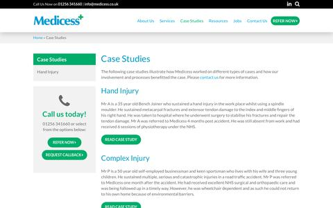 Screenshot of Case Studies Page medicess.co.uk - Medicess Case Studies - captured Oct. 17, 2018