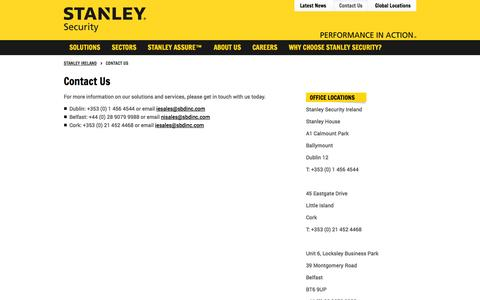 Screenshot of Contact Page stanleysecurity.ie - Contact Us - captured Oct. 7, 2014