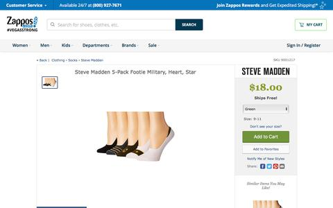 Steve Madden 5-Pack Footie Military, Heart, Star at Zappos.com