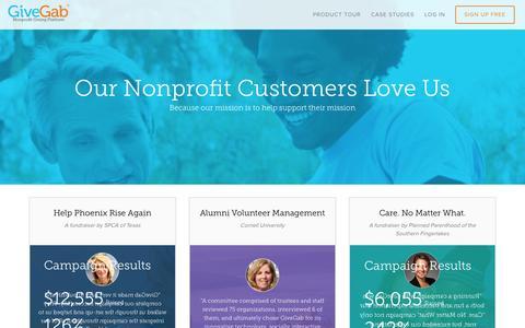 Screenshot of Case Studies Page givegab.com - Nonprofit Giving Platform | GiveGab - captured Nov. 18, 2015