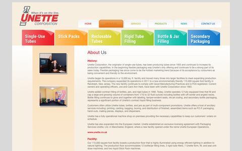 Screenshot of About Page unette.com - About Us | Unette Corporation - captured Dec. 18, 2016