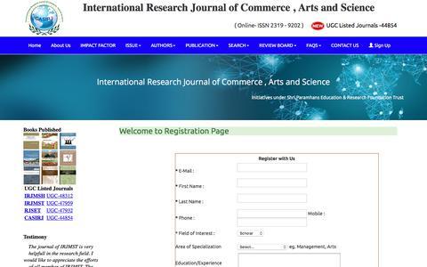 Screenshot of Signup Page casirj.com - UGC Listed – Approved Journal – casirj.com : Registration Page - captured Feb. 5, 2018