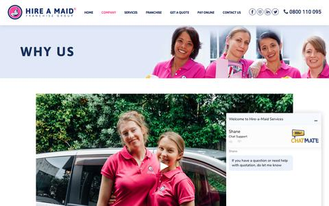 Screenshot of About Page hire-a-maid.co.nz - Why Us — Hire a Maid - captured July 1, 2018