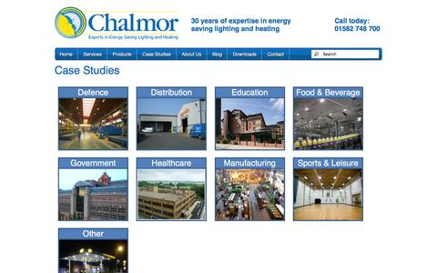 Screenshot of Case Studies Page chalmor.co.uk - Energy Saving Lighting and Heating Case Studies | Chalmor - captured Jan. 27, 2016