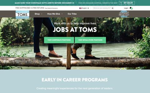 Screenshot of Jobs Page toms.com - Jobs at TOMS | TOMS - captured Dec. 17, 2015
