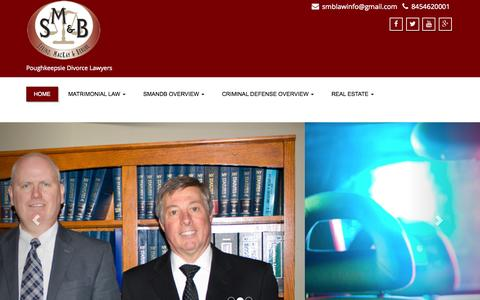 Screenshot of Home Page smandb.com - Poughkeepsie Divorce & Criminal Lawyers: Serino, MacKay & Berube - captured Sept. 5, 2015