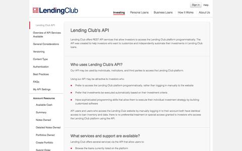 Screenshot of Developers Page lendingclub.com - Lending Club's API | Lending Club - captured Oct. 28, 2014