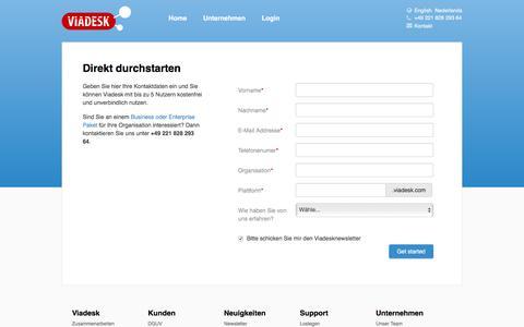 Screenshot of Signup Page viadesk.de - Create a free Viadesk intranet - captured Feb. 16, 2016
