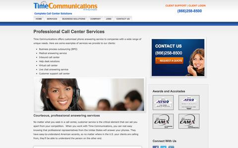 Screenshot of Services Page timecommunications.biz - MN Virtual Answering Service   Live US Call Center Services   24 Hour Contact Centre - captured Oct. 7, 2014