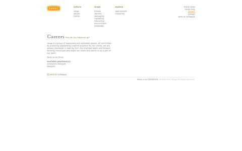 Screenshot of Jobs Page rangeus.com - careers :: Range, Inc. :: rangeUS.com :: design. human. experience. - captured Oct. 7, 2014
