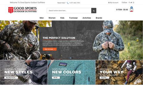 Screenshot of Home Page goodsports.com - Good Sports Outdoor Outfitters - captured Sept. 29, 2018