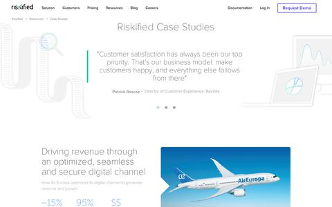 Screenshot of Case Studies Page riskified.com - Ecommerce Fraud Case Studies | Riskified - captured Feb. 20, 2020