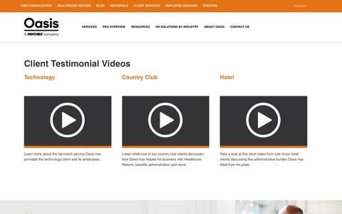 Screenshot of Testimonials Page oasisadvantage.com - Client Video Testimonials New   - Oasis, a Paychex Company - captured Sept. 16, 2019