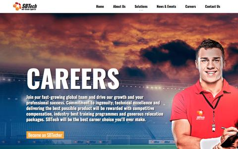 Screenshot of Jobs Page sbtech.com - Creating your future - captured Feb. 9, 2017