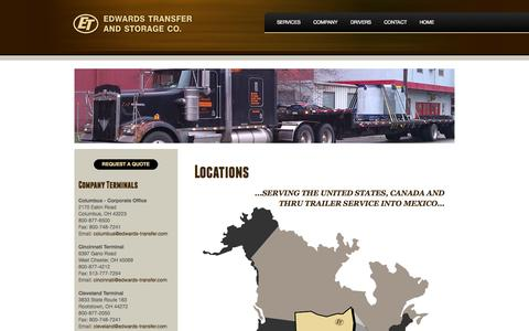 Screenshot of Contact Page Locations Page edwardstransfer.com - Locations - Edwards Transfer And Storage Co. - captured Oct. 22, 2014