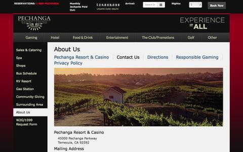 Screenshot of Contact Page pechanga.com - Contact Us - Pechanga Resort & Casino - captured Nov. 17, 2015