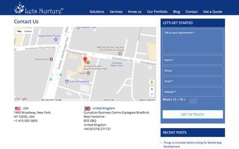 Lets Nurture IT Company - Contact us