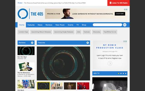Screenshot of Home Page thefourohfive.com - The 405 Music and Culture Magazine - captured Jan. 26, 2015