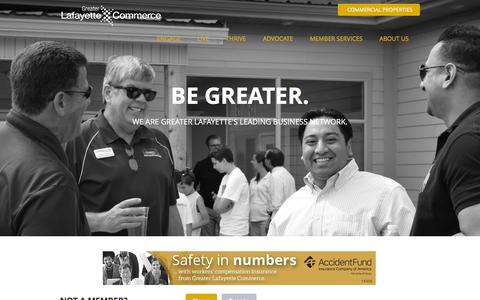 Screenshot of Home Page greaterlafayettecommerce.com - Greater Lafayette Commerce | Lafayette, IN - Home - captured June 23, 2016