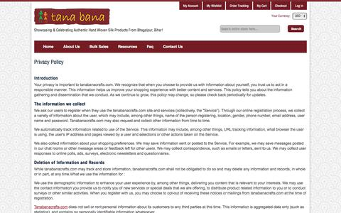 Screenshot of Privacy Page tanabanacrafts.com - Privacy Policy - captured Oct. 26, 2014