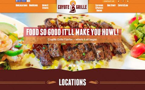 Screenshot of Home Page Locations Page coyotegrille.com - Coyote Grille - Southwestern Tex-Mex Restaurant - Fairfax | Centreville - captured Sept. 30, 2014