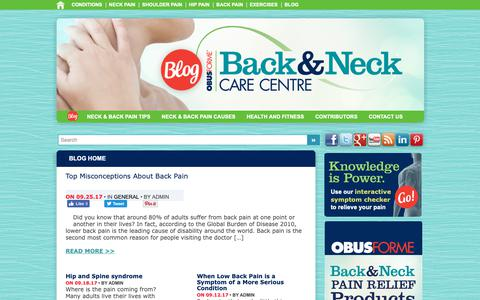 Screenshot of Blog backandneck.ca - Back Pain Blog, Neck Pain Blog - BackandNeck.ca | - captured Oct. 5, 2018