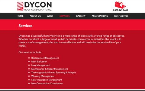 Screenshot of Services Page dycon.ca - Dycon Roof Consultants Inc. | SERVICES - captured Nov. 24, 2016