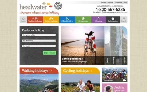 Screenshot of Home Page headwater.com - Cycling and Walking Holidays in France, Italy, Spain & more - Headwater - captured Sept. 23, 2014