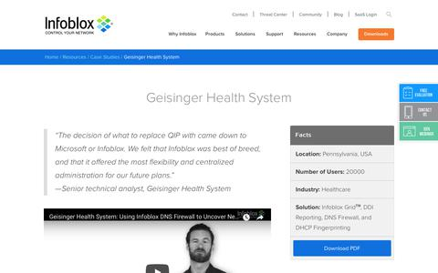 Screenshot of Case Studies Page infoblox.com - Geisinger Health System - Infoblox - captured Sept. 25, 2017