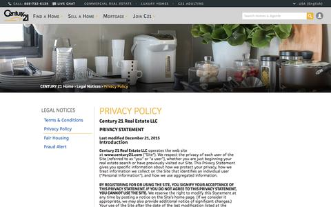 Screenshot of Privacy Page century21.com - Privacy Policy | CENTURY 21 - captured Oct. 16, 2017