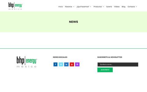 Screenshot of Press Page bhbenergy.com - News - Bhp Energy México - captured Oct. 9, 2017