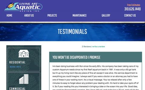 Screenshot of Testimonials Page aquatic2000.com - Testimonials | Los Angeles Custom Aquarium Design - captured Jan. 31, 2016