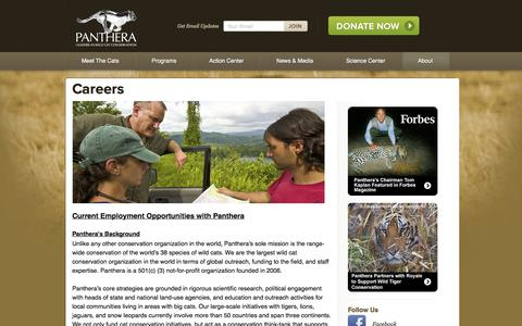 Screenshot of Jobs Page panthera.org - Careers | Panthera - captured Sept. 19, 2014