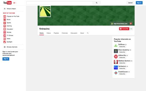 Screenshot of YouTube Page youtube.com - fintracinc  - YouTube - captured Oct. 23, 2014