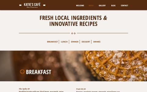 Screenshot of Menu Page katiesbakerycafe.com - Menu   Katie's Bakery Café - captured Oct. 30, 2014