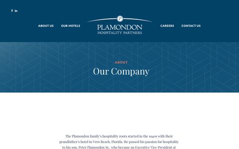 Screenshot of About Page plamondonhospitalitypartners.com - About Our Company - Plamondon Hospitality Partners - captured July 19, 2018