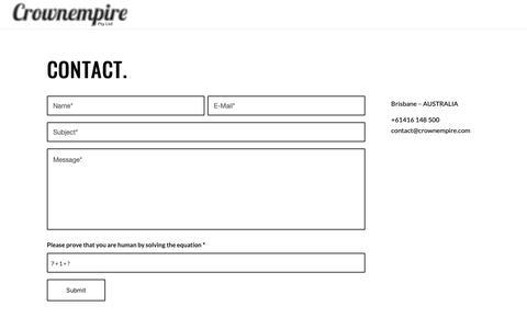 Screenshot of Contact Page crownempire.com - CONTACT | CROWNEMPIRE | PHIREBIRD | BIKE PLAY | GLENN CODEGA - captured Sept. 30, 2018