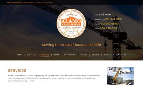Screenshot of Services Page alamocrane.com - Oil Field Cranes, Bridge Beam Placement, San Antonio, TX - captured Oct. 3, 2018