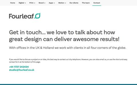 Screenshot of Contact Page fourleaf.co.uk - Looking to find a digital, print and brand agency. - captured Sept. 15, 2019