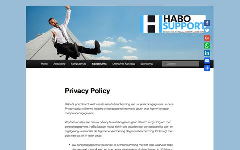 Screenshot of Privacy Page habosupport.nl - Privacy Policy | Habosupport - captured July 15, 2018