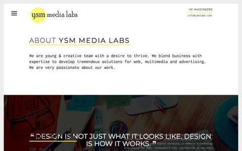 Screenshot of About Page ysmlabs.com - About Us | YSM Media Labs Pvt Ltd | Web Design Goa | Professional Web Design Company Goa | E - Commerce Websites Goa | Real Estate Websites Goa | Hotel & Resort Websites Goa | SEO & SEM Services Goa | Social Media Marketing Goa | Bulk E-Mail & SMS Go - captured Feb. 4, 2018