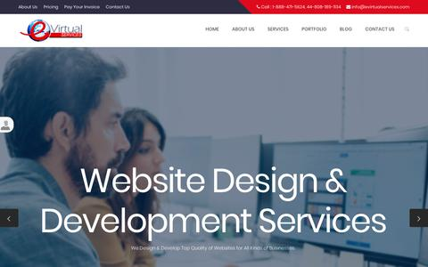 Screenshot of Home Page Services Page evirtualservices.com - E Virtual Services - Best Virtual Assistant Services Company   Hire Virtual Assistant At $7.98/Hour - captured Sept. 14, 2018