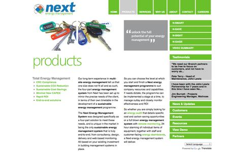 Screenshot of Products Page nextenergymanagement.com - Sustainable Energy Management Solutions | Next Controls | Next Energy Management - captured Oct. 9, 2014
