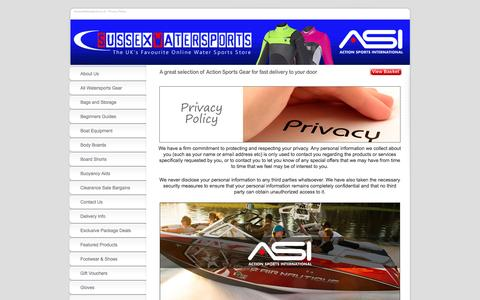 Screenshot of Privacy Page sussexwatersports.co.uk - Privacy Policy | www.SussexWatersports.co.uk - captured Aug. 16, 2016